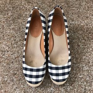 J.Crew Navy and Ivory Gingham Espadrille Wedges